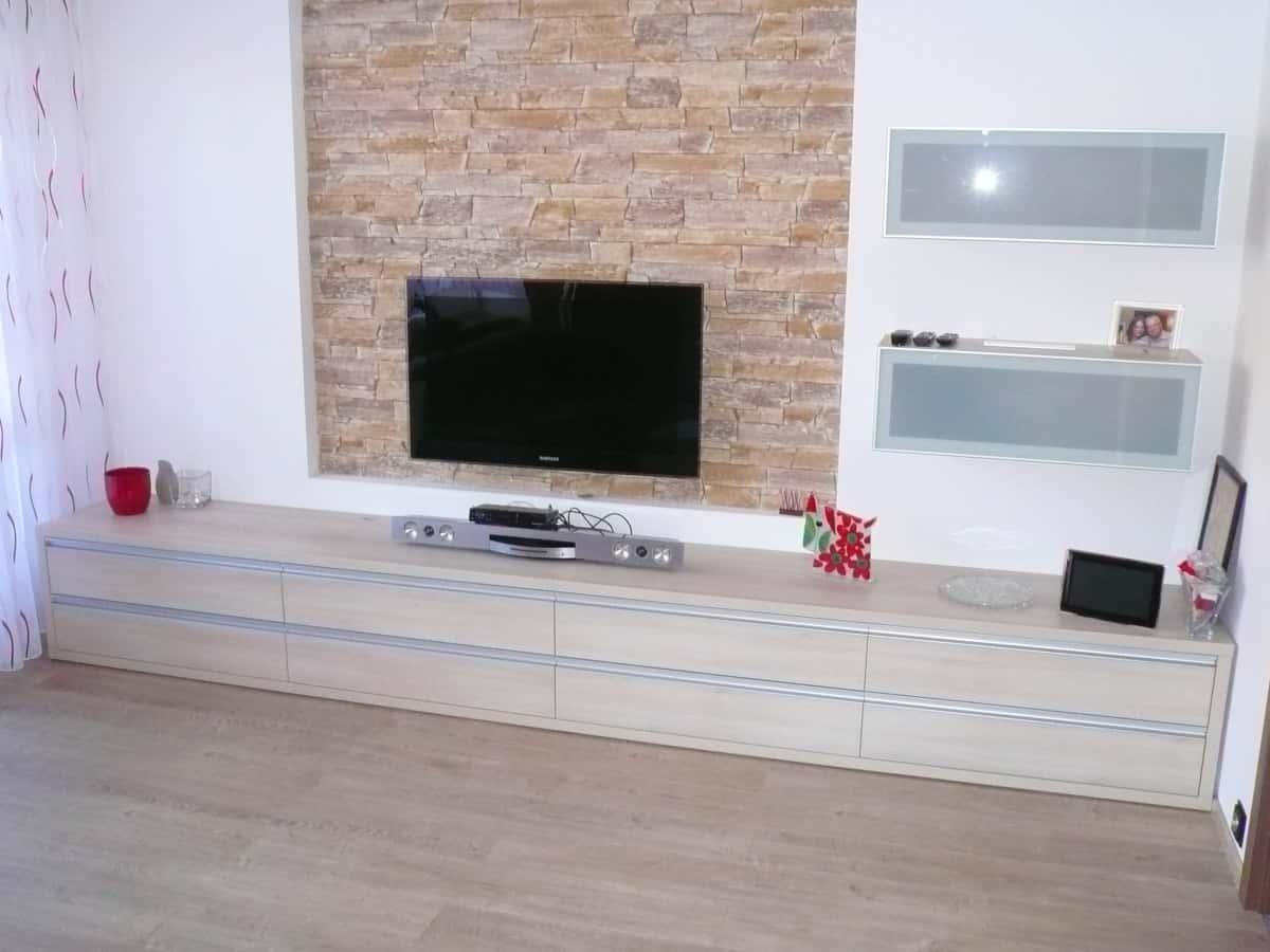 Obývací stěny s televizí, designové police 5