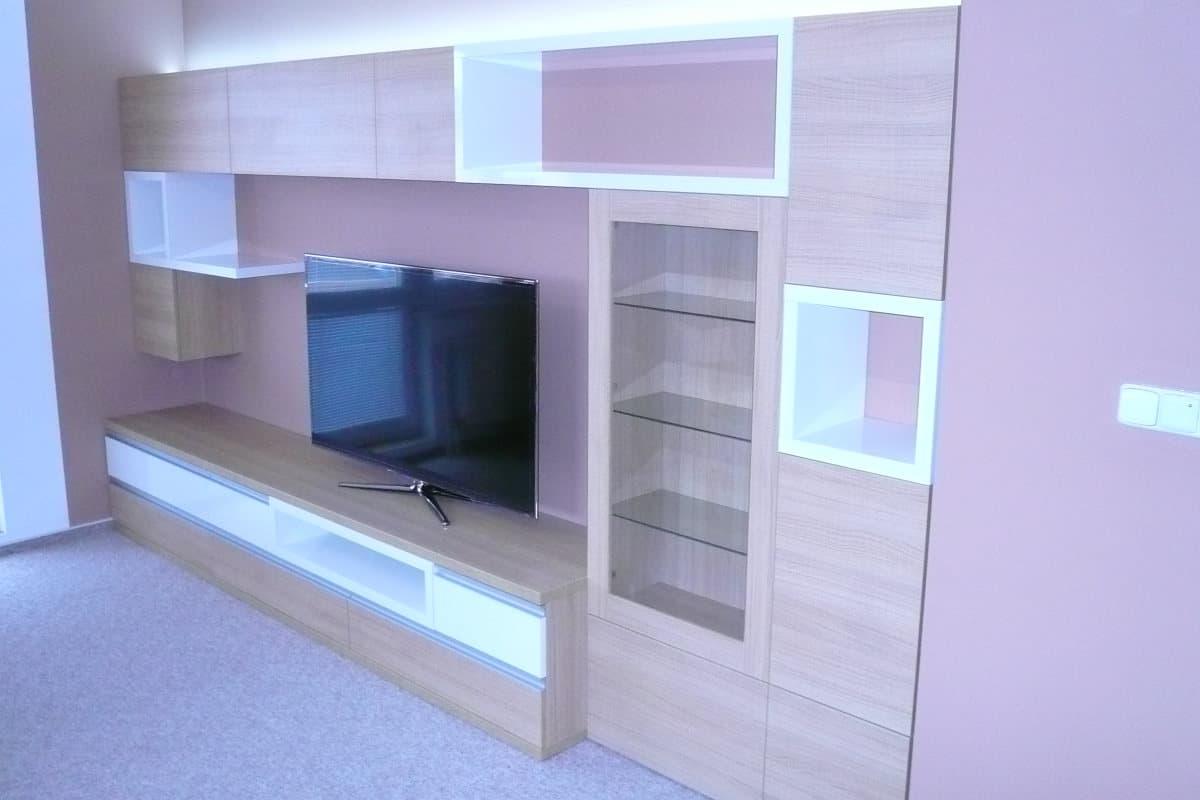 Obývací stěny s televizí, designové police 8